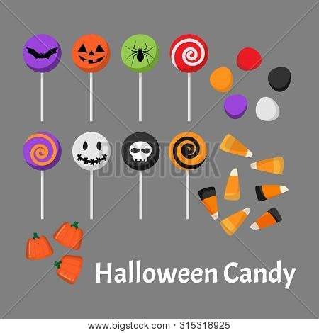 Set Of Halloween Candy And Lollipop. Vector Illustration.