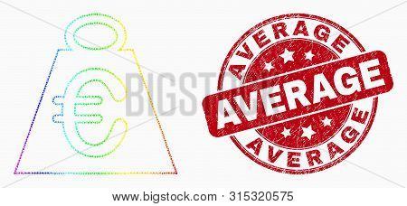 Dot Spectrum Euro Mass Mosaic Pictogram And Average Seal. Red Vector Round Grunge Seal With Average