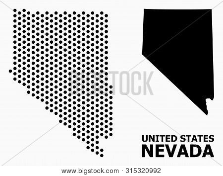 Pixelated Map Of Nevada State Composition And Solid Illustration. Vector Map Of Nevada State Composi