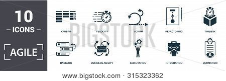Agile Icon Set. Contain Filled Flat Backlog , Business Agility , Estimation , Facilitation , Integra