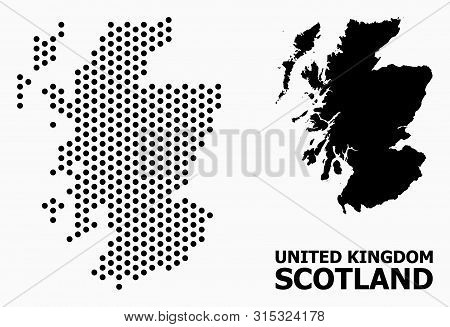 Pixel Map Of Scotland Mosaic And Solid Illustration. Vector Map Of Scotland Combination Of Sphere Sp