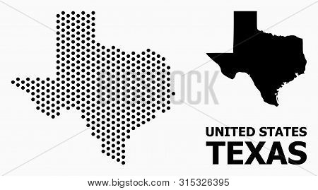 Dotted Map Of Texas State Composition And Solid Illustration. Vector Map Of Texas State Composition