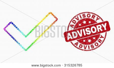 Dotted Rainbow Gradiented Validated Tick Mosaic Pictogram And Advisory Seal. Red Vector Rounded Grun
