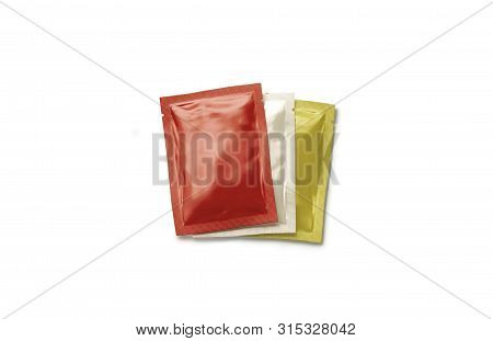 Blank Red, Beige And Yellow Sachet Packet Stack Mockup Set, 3d Rendering. Empty Catsup, Mayo And Mus