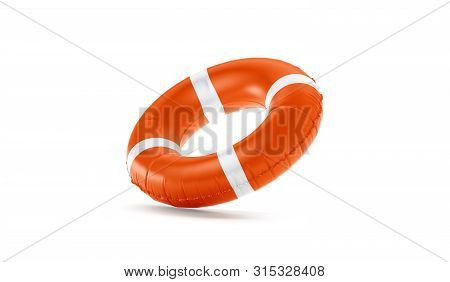 Blank Red Lifebuoy No Gravity Mock Up Isolated, 3d Rendering. Empty Flotation Ring Mockup. Clear Rou