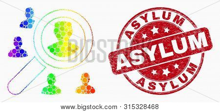 Dotted Spectral Search Users Mosaic Icon And Asylum Seal. Red Vector Round Scratched Seal With Asylu