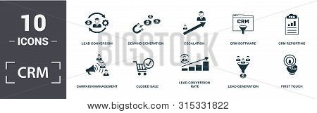 Crm Icon Set. Contain Filled Flat Campaign Management, Closed Sale, Crm Reporting, Crm Software, Dem