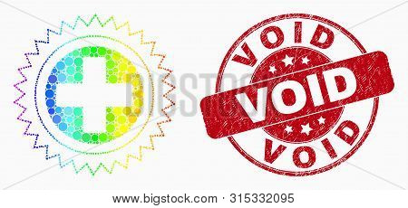 Pixel Bright Spectral Medical Cross Mosaic Pictogram And Void Seal. Red Vector Round Grunge Seal Wit