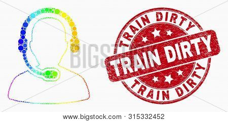 Pixel Bright Spectral Radio Operator Mosaic Pictogram And Train Dirty Seal Stamp. Red Vector Round D