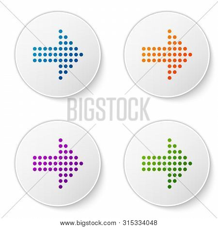 Color Dots Arrow Icon Isolated On White Background. Halftone Arrow. Dotted Arrow Sign. Set Icons In