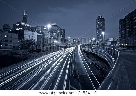 Nighttime highway traffic.