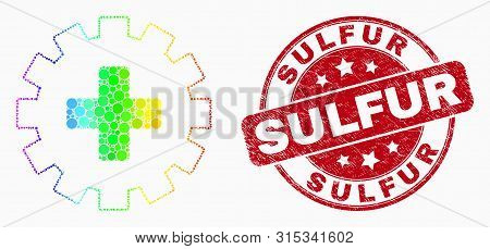 Pixelated Rainbow Gradiented Plus Gear Mosaic Icon And Sulfur Seal Stamp. Red Vector Rounded Grunge