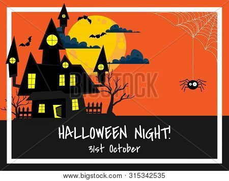 Halloween Background With Haunted House With Bats On Full Moon Sky And Halloween Night! Text.