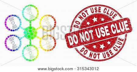 Pixelated Spectral Hexacopter Mosaic Pictogram And Do Not Use Clue Seal Stamp. Red Vector Round Text