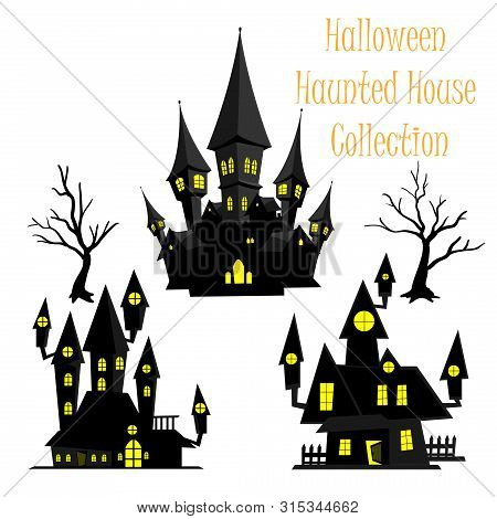 Spooky Halloween Haunted House Collection On White Background. Vector Illustration.