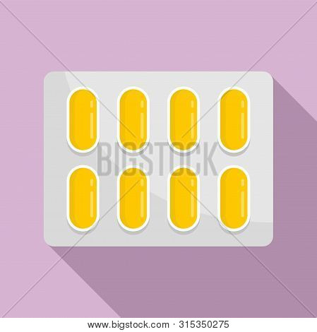 Dietary Pills Pack Icon. Flat Illustration Of Dietary Pills Pack Vector Icon For Web Design