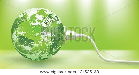 abstract green energy concept with green Earth and plug poster
