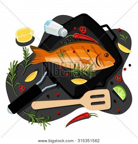 Cooking Fish Dorado, Tuna, Trout, Vector Flat Cartoon Top View Illustration. Black Grill Pan With Fr