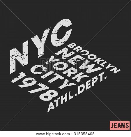 T-shirt Print Design. Nyc Brooklyn Star Vintage Stamp. Printing And Badge, Applique, Label, Tag T Sh