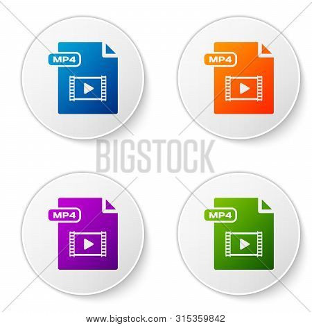 Color Mp4 File Document. Download Mp4 Button Icon Isolated On White Background. Mp4 File Symbol. Set