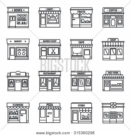 Local Business Store Icons Set. Outline Set Of Local Business Store Vector Icons For Web Design Isol