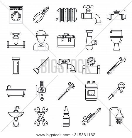 Plumbing Repair Icons Set. Outline Set Of Plumbing Repair Vector Icons For Web Design Isolated On Wh