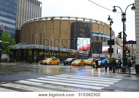New York, New York/united States- May 12, 2017: A View Of Penn Station In Manhattan On A Rainy Day,
