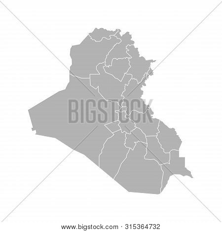 Vector Isolated Illustration Of Simplified Administrative Map Of Iraq. Borders Of The Governorates (