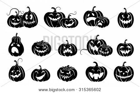 Set Of Halloween Pumpkins.  Variety  Terrifying Scary Pumpkins. Black Silhouette Isolated. Template