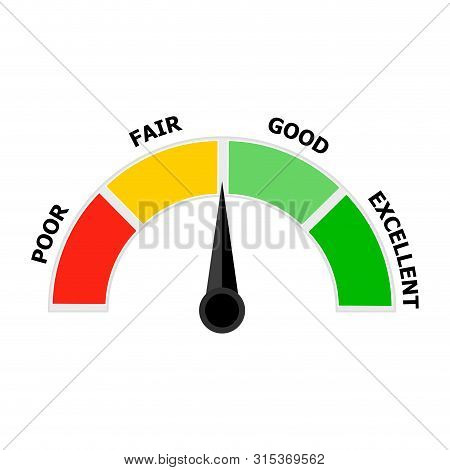 Credit Indicator, Score Icon Indicate Level Solvency. Credit Score Level, Fair And Good, Excellent A