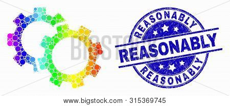 Pixelated Rainbow Gradiented Cogs Mosaic Pictogram And Reasonably Seal Stamp. Blue Vector Rounded Sc