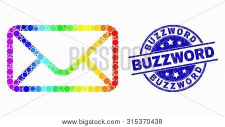 Pixelated Spectral Envelope Mosaic Icon And Buzzword Stamp. Blue Vector Round Scratched Seal Stamp W