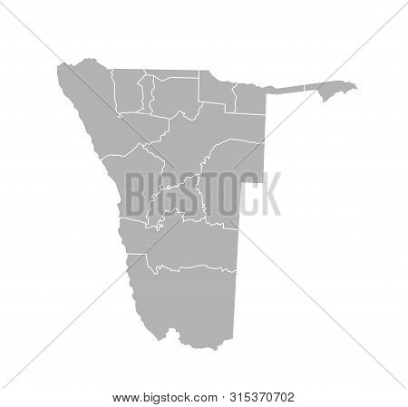Vector Isolated Illustration Of Simplified Administrative Map Of Namibia. Borders Of The Regions. Gr