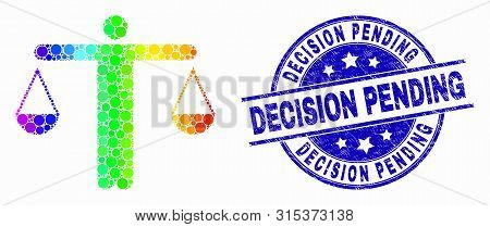 Dotted Spectral Judge Mosaic Icon And Decision Pending Seal Stamp. Blue Vector Round Distress Seal S