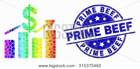 Dot Spectrum Dollar Trends Mosaic Pictogram And Prime Beef Stamp. Blue Vector Round Scratched Stamp