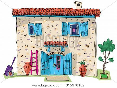 A Really Cute Village French House. A Vintage Sandstone Building. Traditional Architecture Solution.