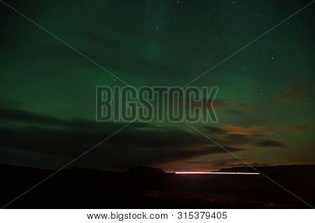 Northern Light Black Sky With Stars. Nature Miracles. Aurora Dark Sky. Amazing Nature Phenomena. Bes