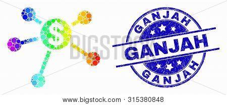 Dot Spectrum Dollar Links Mosaic Icon And Ganjah Seal Stamp. Blue Vector Round Grunge Seal Stamp Wit