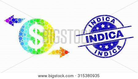 Dot Spectrum Dollar Exchange Arrows Mosaic Pictogram And Indica Seal. Blue Vector Rounded Grunge Sea
