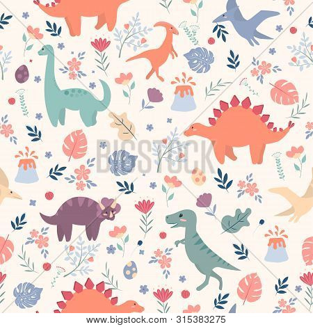 Seamless Pattern With Dinosaurs And Tropical Leaves And Flowers. Perfect For Kids Fabric, Textile, W