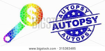 Pixel Rainbow Gradiented Financial Audit Mosaic Pictogram And Autopsy Seal. Blue Vector Rounded Grun