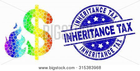 Pixelated Rainbow Gradiented Dollar Fire Mosaic Pictogram And Inheritance Tax Seal. Blue Vector Roun