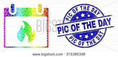 Pixelated Spectral Hot Calendar Leaf Mosaic Pictogram And Pic Of The Day Stamp. Blue Vector Round Gr