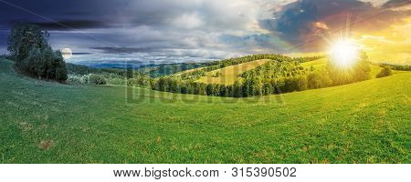 Panoramic Mountain Landscape Day And Night Time Change Concept. Grassy Meadow On The Hillside. Trees