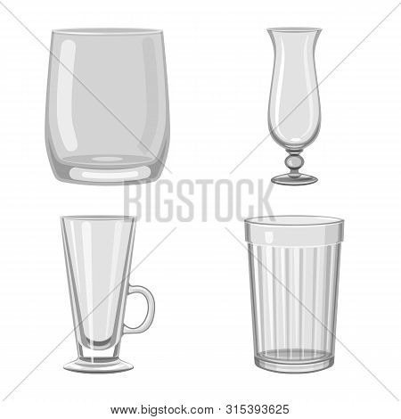 Isolated Object Of Capacity And Glassware Logo. Set Of Capacity And Restaurant Stock Vector Illustra