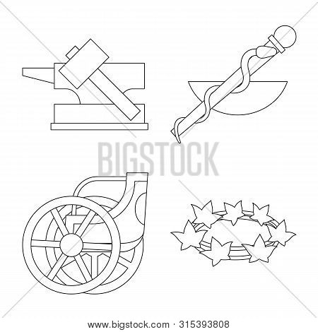 Vector Design Of Mythology And God Logo. Set Of Mythology And Culture Vector Icon For Stock.