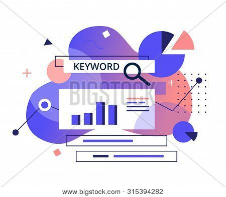 Monitoring, Analysis And Verification Of Site Positions In Search Engines Concept. Keyword Research