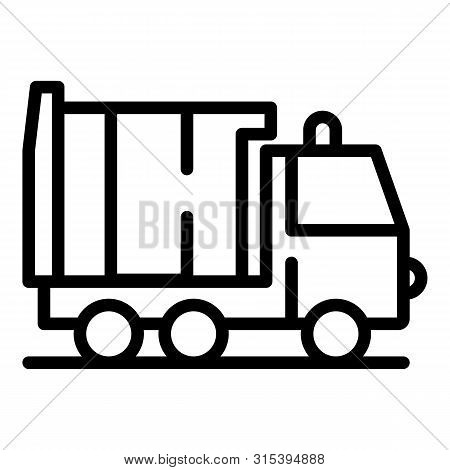 Garbage Truck Icon. Outline Garbage Truck Vector Icon For Web Design Isolated On White Background