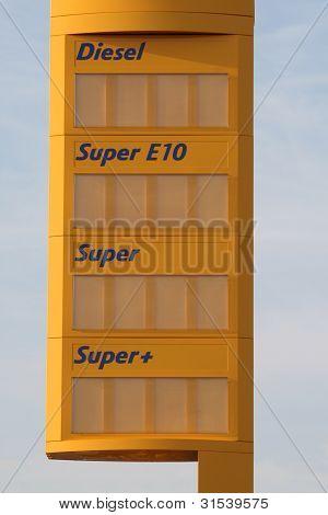 Petrol station price board