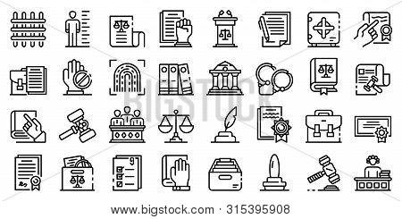 Legislation Icons Set. Outline Set Of Legislation Vector Icons For Web Design Isolated On White Back